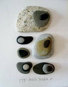 This artistic Beach Rocks Composition is glued together on canvas by Simone of Beach Vintage.