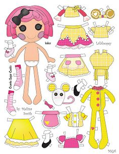 CRUMBS SUGAR COOKIE  Lalaloopsy doll was one of original eight [8] released.  Crumbs Sugar Cookie has 4 tops, 3 skirts, an apron, overalls, and Pj's, 3 pairs of shoes and her PET MOUSE.  Lalaloopsy doll character is owned by MGA. Art is drawn by Melissa  Smith using Adobe Illustrator software.