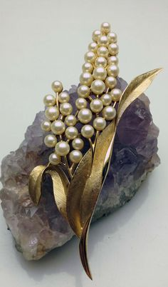 Crown Trifari Floral Pearl Cluster Stylized by WoodrowsWhatnots, $29.00