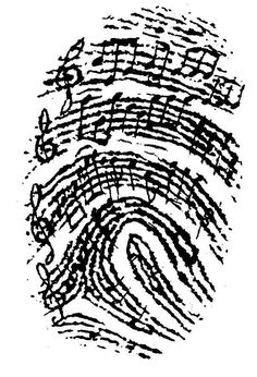 This would be great on a shoulder as a tattoo. Music lover thumb print drawing.