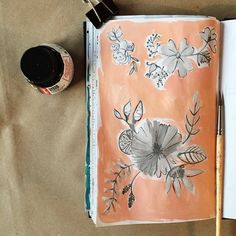 87/365 grey floral on peach surface pattern design concept sketch by Two if by Sea Studios