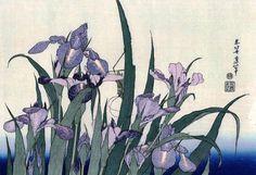 Katsushika Hokusai Iris Flowers and Grasshopper