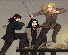 Hobbit art, Fili Kili and Thorin Why can I see this happening?
