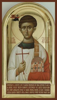 Holy, glorious, all-laudable Apostle and Archdeacon Stephen the Protomartyr (Gk… Byzantine Icons, Byzantine Art, Religious Icons, Religious Art, Romulus And Remus, Christian Artwork, Saint Stephen, Russian Icons, Religious Paintings