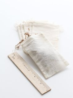 Cotton muslin bags, all natural color small size, wedding favor. $9.00, via Etsy.