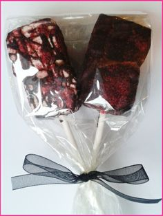 Vegan Marshmallow Lollipop drizzled with dark chocolate and cranberry dust from Need Sweets