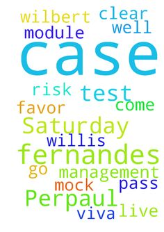 Prayer request for Perpaul Fernandes Saturday case - Prayer request for Perpaul Fernandes Saturday case to go well and case to come in his favor. Prayer request for Wilbert Fernandes to clear risk management module in Willis, viva mock test and live test to pass.  Posted at: https://prayerrequest.com/t/Eme #pray #prayer #request #prayerrequest