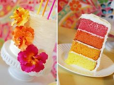 fuxia-yellow-orange funny wedding cake