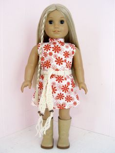 American Girl Clothes 1970's Dress and Belt by SewedHerMind
