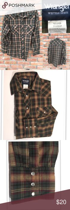 Spotted while shopping on Poshmark: Wrangler Western  pearl snap Long sleeve shirt! #poshmark #fashion #shopping #style #Wrangler #Other