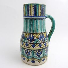 MOROCCAN FRITWARE POTTERY JUG, 19TH CENTURY