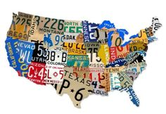 This large, nearly 3 feet wide, die cut steel sign shaped like the USA creates the look of pieced together vintage license plates at a fraction of the cost of using actual plates.  The quality graphics represent each state, in its geographically correct location, with an image from that states license plate.       These vintage looking metal signs are much larger and more impressive in person, made from heavy 24-gauge steel that has been rusted by hand to give it an authentic vintage look…