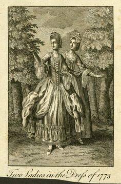Fashion plate, 'Two Ladies in the Dress of - MAAS Collection 18th Century Clothing, Two Ladies, Science Art, Fashion Plates, Cool Outfits, Portrait, Lady, Painting, Inspiration