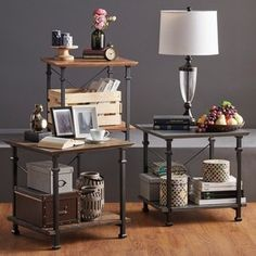Cyra Industrial Reclaimed Accent End Table by TRIBECCA HOME - Free Shipping Today - Overstock.com - 18170855