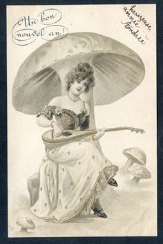 AK Litho  Frau unterm Riesenpilz, spielt Mandoline  1903