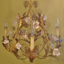 Vintage Italian Gilt Metal Birdcage Chandelier With Porcelain Roses Flowers Florentine Mediterranean Italy♥.•:*´¨`*:•♥