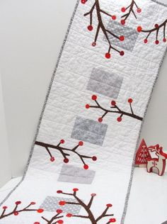 holiday table runner -quilted runner in white and gray with red berries - Christmas, winter wedding gift- FREE US SHIPPING thru 12/31/2013
