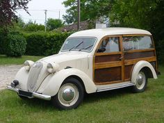 "1938 Simca 8 Break. Note that in European markets the term ""Break"" meant station wagon (or estate car)."