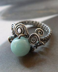 Amazonite silver ring, wire wrapped handmade jewelry, natural winter ring