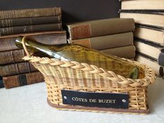 Vintage French Wicker Wine Basket Cotes De by JansVintageStuff