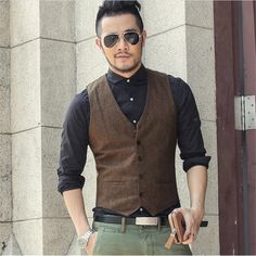 >> Click to Buy << Brand New Men's Vest Slim Size Waistcoat Male Fashion Jacket Outwear Sleeveless Shirt Jacket Winter Vest Outwear Vests A2806 #Affiliate