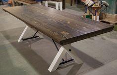 8- trestle table distressed dark walnut distressed ivory 001