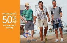 Buy one, get one 50% off men's clothing
