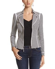 White House | Black Market Stripe Knit Moto Jacket, great jacket! So comfy unlike most jackets