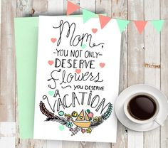 All Mom's Deserve a Vacation (Note to Husband) | 10 Minty Green Mother's Day Cards You'll Love
