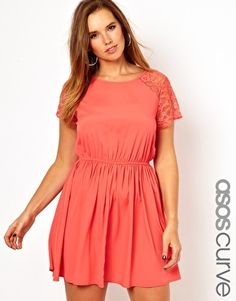 ASOS Curve | ASOS CURVE Exclusive Skater Dress With Lace at ASOS