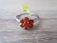 Jalisco Fire Opal Ring Platinum Overlay Sterling Silver Size 7,8,9 Option