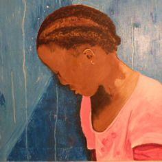Tableau jeune fille africaine peinture huile