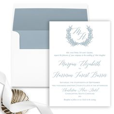 Wedding Invitations | Laurel Wreath Wedding Invitation with Belly Band