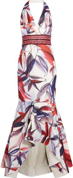 Badgley Mischka Embellished printed jacquard halterneck gown