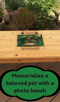 Memorialize a beloved pet with a photo bench