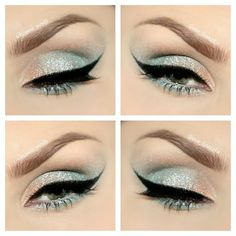 Champagne to a soft sea foam color on eyes. Beautiful summer makeup. Cat eye.