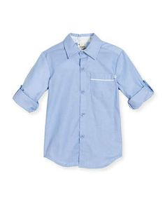 K0MP2 Fore Long-Sleeve Cotton Oxford Shirt, Blue, Size 2-8