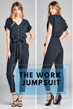ef8c4a840443 Jumpsuit work outfit! This one piece jumpsuit is a cool menswear inspired  option for the