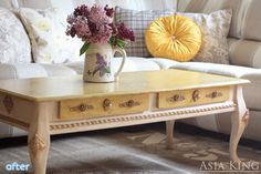 ornate yellow coffee table makeover   betterafter.net