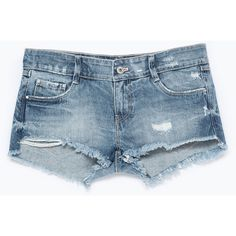 Zara Ripped Denim Shorts ($30) ❤ liked on Polyvore featuring shorts, bottoms, blue, destroyed shorts, blue shorts, destroyed jean shorts, short jean shorts and torn shorts