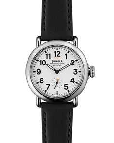 Y2HNT Shinola Runwell Watch with Black Leather Strap, 36mm