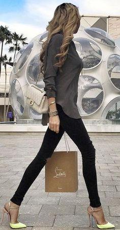 #fall #trending #outfits | Grey Blouse + Black Denim + Neon Pumps
