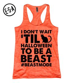 Halloween. Workout Tank. Beast Mode. Orange. by EnlightenedState