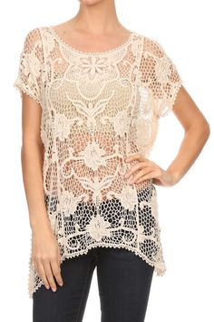 Lace long body short sleeve top in a relaxed style with a scoop neck and an asymmetric hem.  Oatmeal Crochet Top by Cozy Casual. Clothing - Tops - Short Sleeve Pennsylvania