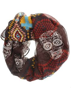 http://www.newtrendsclothing.com/category/infinity-scarf/ Sugar Skull Tribal Print Infinity Scarf