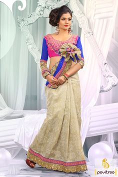 Embellished with lace patti, resham and embroidery works. The georgette and dhupion made off white blue embroidery designer Saree is attractive in looks.