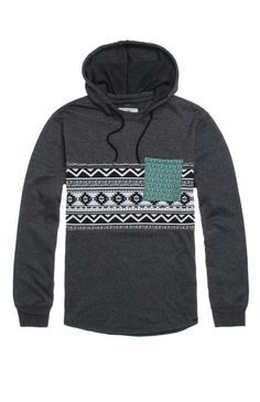 On The Byas comes with a creative men's hooded shirt found at PacSun. The Lang Pieced Print Hooded Pullover Shirt for men ocmes with a black body, two tone print mid section, and two tone print chest pocket. Two tone hoodie Chest pocket Matching hood and drawstrings Fleece lining Long sleeves Machine washable 60% cotton, 40% polyester Imported