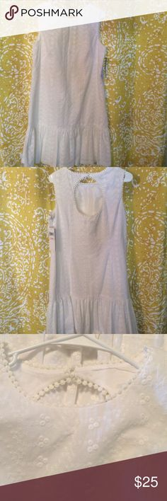 Dress NWT Beautiful white summer dress. Fully lined, side zip, cute out at back. Very nice London Times Dresses