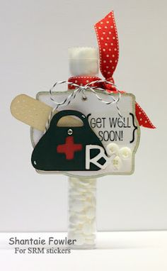 SRM Stickers - @Shantaie Fowler created this wonderful Get Well Tube filled with aspirins using her Cricut and SRM's Wishing You Well Sticker Sentiments.