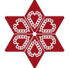 Scandi Style Lacy Valentines Heart Star Geometric Beading Pattern or Tutorial This is an intermediate to advanced pattern for those that know how to make a warped square and join them into a star. Perfect for your Scandi inspired Valentines! Make your own beautiful piece of art from